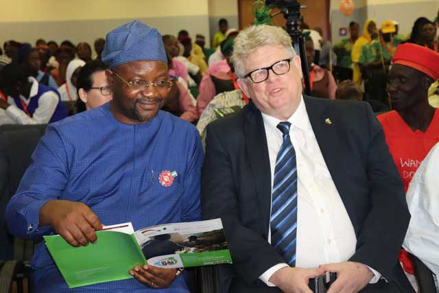 From left, the Minister of Youth and Sports Development, Sunday Dare and the SEDIN Head of Programme, Dr. Detlev Holloh
