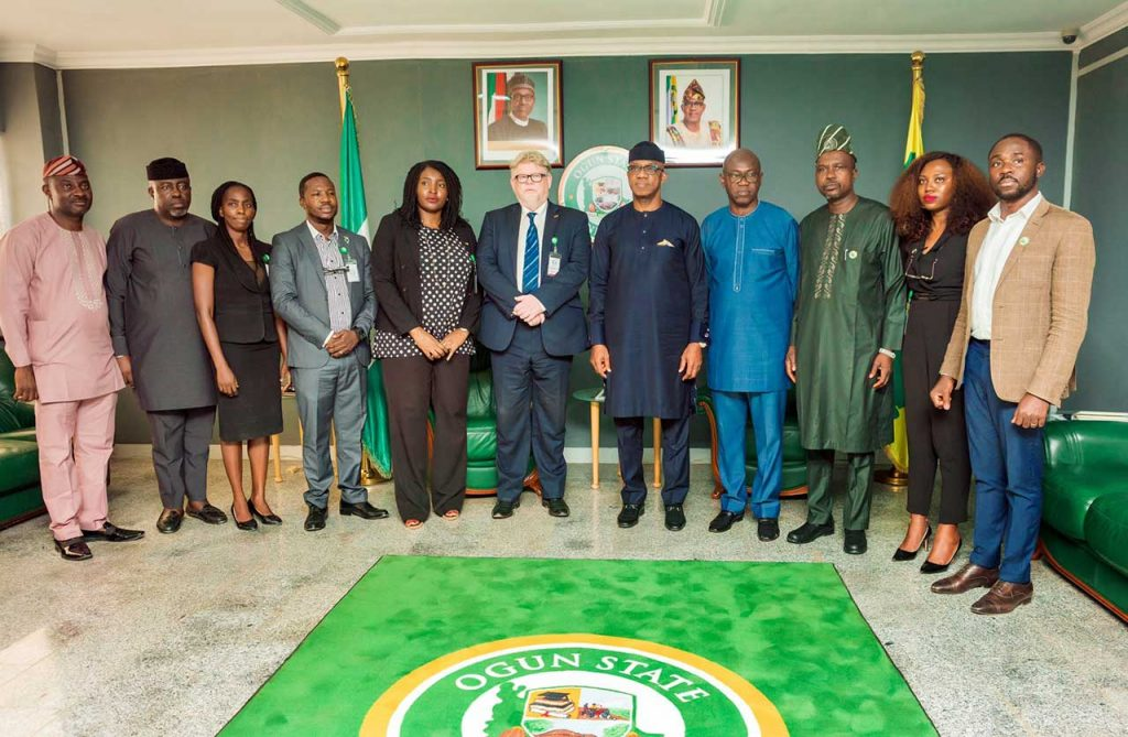 SEDIN head of Programme, Dr. Detlev Holloh and the executive governor of Ogun state Prince(Dr) Dapo Abiodun, MFR flanked by members of the GIZ and Ogun state team